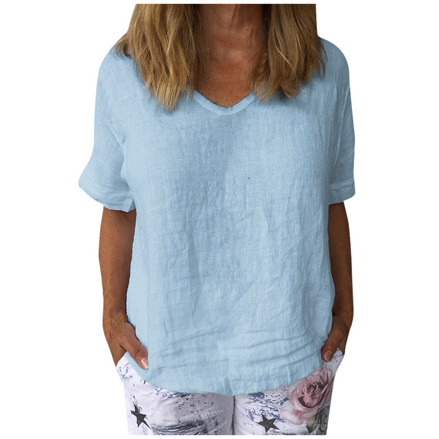 comfy Casual Cotton And Linen O-Neck Solid Short Sleeves T-Shirt 3