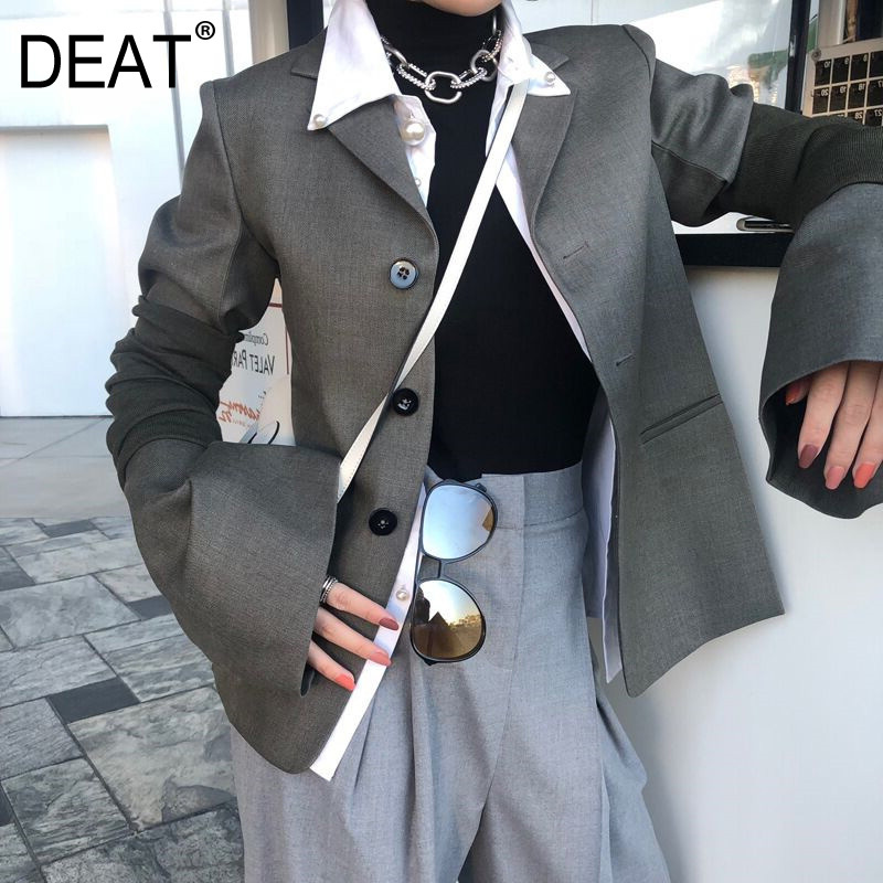 DEAT Gray Long Sleeve Detachable Sleeve Single Breasted Ladies Office Blazer Femme Simple Fashion 2020 Autumn Coat New TV848