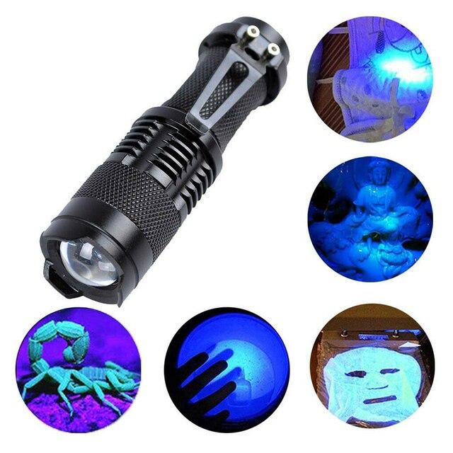LED UV פנס אולטרה סגול אורות עם זום פונקציה מיני לפיד מנורת 365nm 395nm סגול אור להשתמש AA / 14500 סוללה מופעל