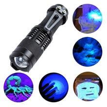 LED el feneri el feneri ultraviyole ışıkları Zoom fonksiyonu ile Mini fener lamba 365nm 395nm mor ışık kullanımı AA / 14500 pil Powered