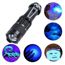 Latarka LED UV światła ultrafioletowe z funkcją zoomu lampa Mini latarka 365nm 395nm fioletowe światło użyj AA / 14500 zasilany z baterii