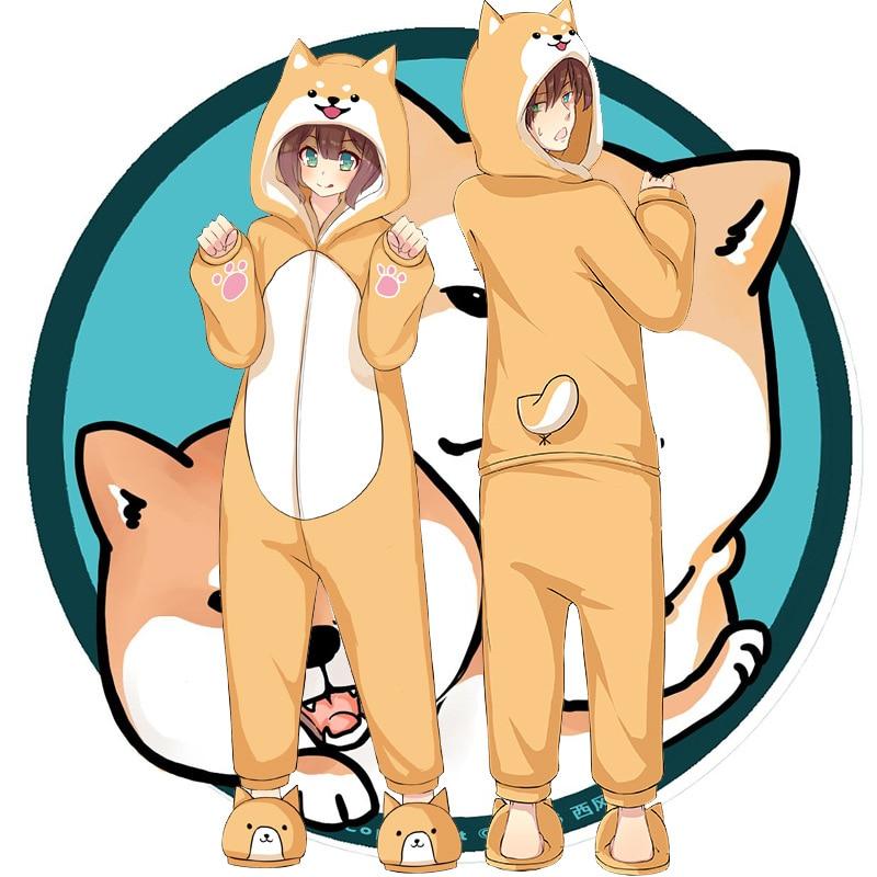 Shiba Inu Collar Pajamas Fall/Winter Flannel Keji Clothes Men And Women Two Yuan Anime Peripheral Home Service Set