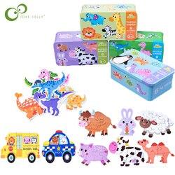 Rompecabezas cognitivo para bebé, juguetes de dibujos animados de tráfico, cognición Animal, juguetes, caja de hierro para bebé, tarjetas, juego educativo a juego ZXH