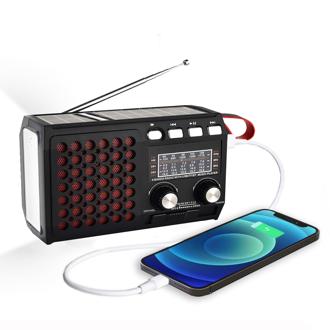 Draagbare Emergency Radio Am/Fm/SW1 ~ 4 Met Bluetooth Speaker Solar Hand Crank Tf Card Usb Disk MP3 Speler 4-In-1 Batterij Operated 1