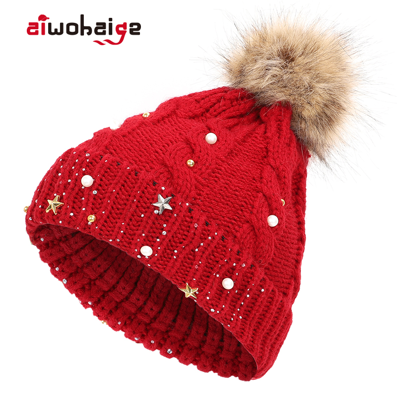 2019 New Fashion Ladies Pompom Knit   Beanie   Women Shiny Casual Rhinestone Hat Christmas Female Warm Soft Cap   Skullies   Bonnet Girl