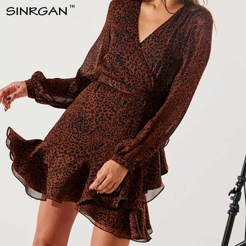 SINRGAN Fashion Mini Leopard Dress Ruffle Brown Elegant Women Streetwear Autumn Vintage Dresses Mini Short Robe Femme