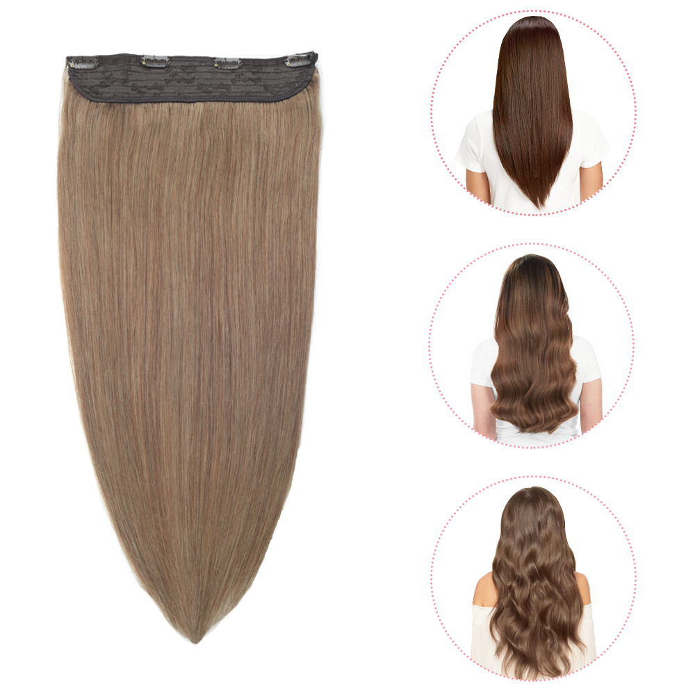 Sindra Invisible Wire Flip In Hair Extensions Straight Indian Machine-Remy 100% Human Hair Weft Fish Line Hair 75g-1050g 14