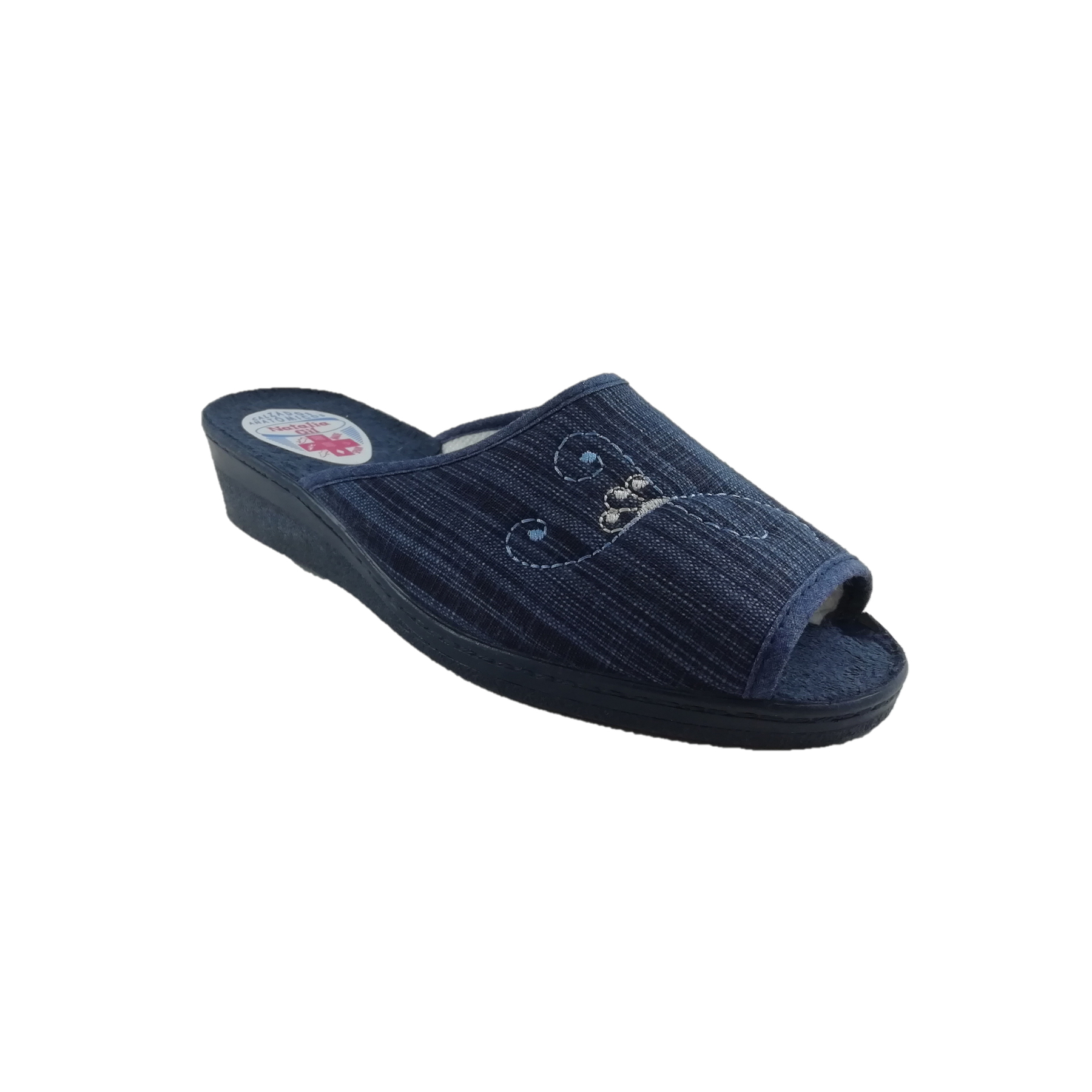 Slippers Anatomical Homespun For Women With Lining Towel And Wedge Half Hard Gum Vulcanized.