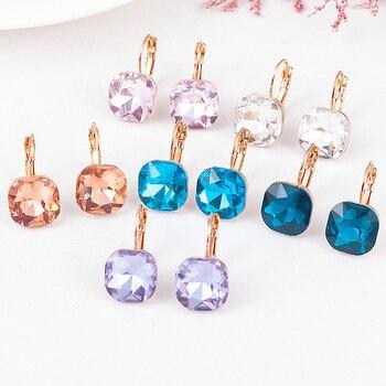 Fashion Gold Color Earring For Women Crystal Cubic Zirconia Stud Earrings Stone Pendientes Mujer Moda Minimalist Earrings 1