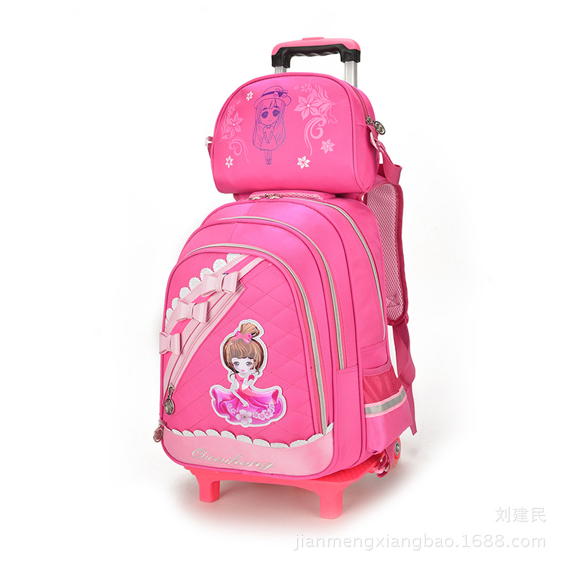 New Tea Qi Picture Trolley Bag Two Round Young STUDENT'S Travel Trolley School Bag 3-6 Grade Men And Women CHILDREN'S School Bag