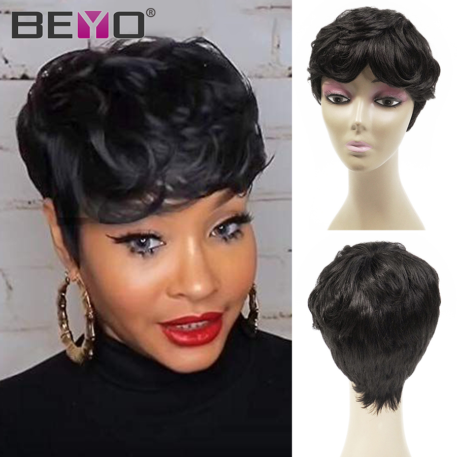 Beyo Short Wig Natural Black Pixie Cut Wig Brazilian Straight Remy Human Hair Wigs For Women 150% Density Machine Made Wigs