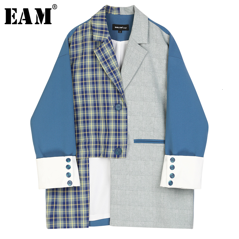 [EAM]  Women Blue Plaid Spit Big Size Blazer New Lapel Long Sleeve Loose Fit  Jacket Fashion Tide Spring Autumn 2019 1D820