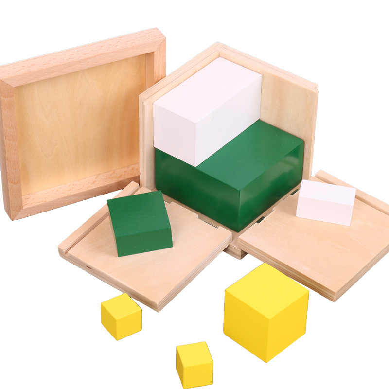 Wooden Montessori Materials Power of 2 Cube Box Preschool Learning Toys Educational Toys For Children 2-4 Years Juguetes C1844H