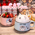 Cat noodle bowl with cover mug large capacity home ceramic dormitory lovely lunch box 450ML 1020ML with handle can be microwave
