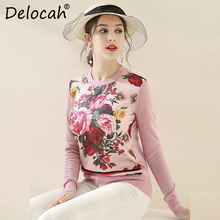 Delocah Runway Fashion Autumn Winter Knitting Sweaters Womens Long Sleeve Floral Printed Vintage Pink Wool Pullovers