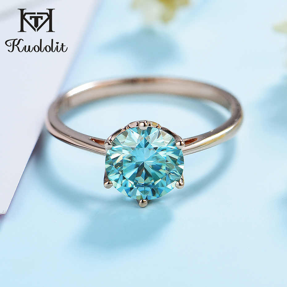 Unique Green Moissanite Solid 14K 18K White Gold Multi-Stone Ring Wedding Engagement Ring for Women with Certificate