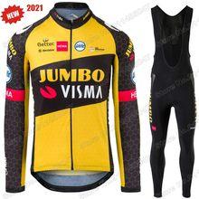Equipe 2021 jumbo visma terno conjunto camisa de ciclismo roupas verão dos homens manga longa mtb bicicleta estrada calças bib maillot culotte