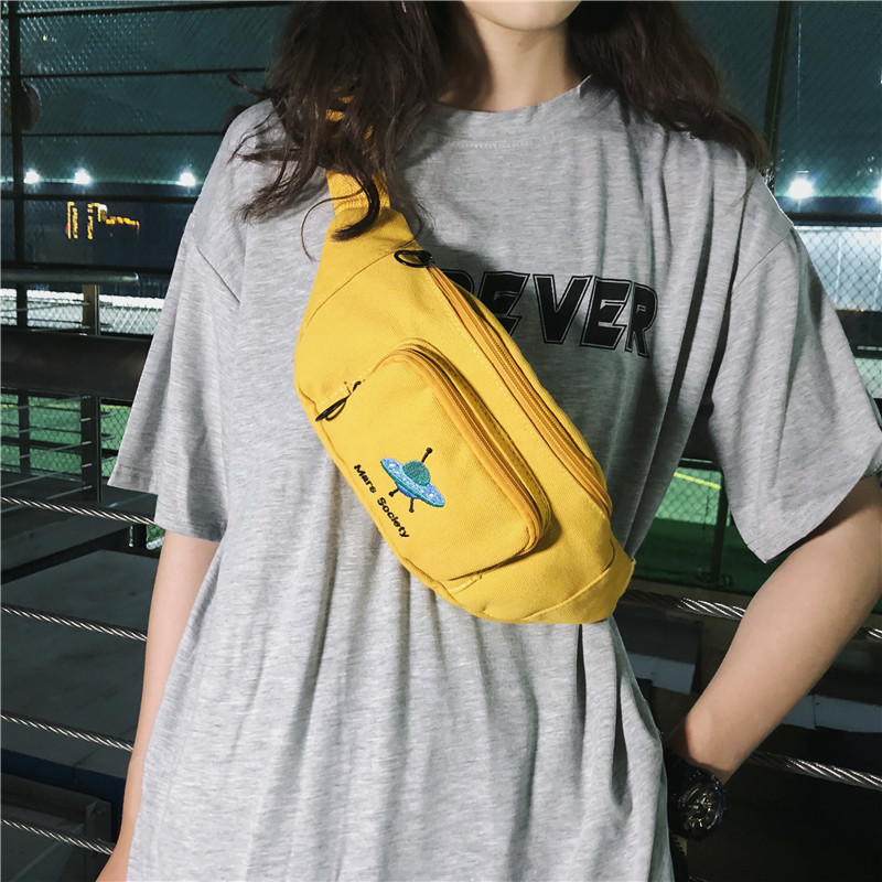 Cute Canvas Belt Bag For Women 2020 Chest Bag Shoulder Crossbody Bag Fashionable Fanny Packs For Kids Travel Hip Hop Street Pack