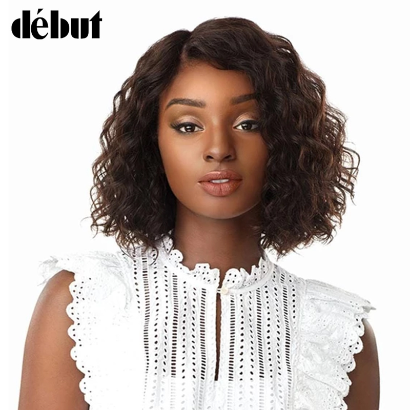 Debut Curly Human Hair Short Wigs For Black Women Remy Brazilian Hair Wigs Water Wave U Part Lace Wigs For Women Curly Bob Wigs