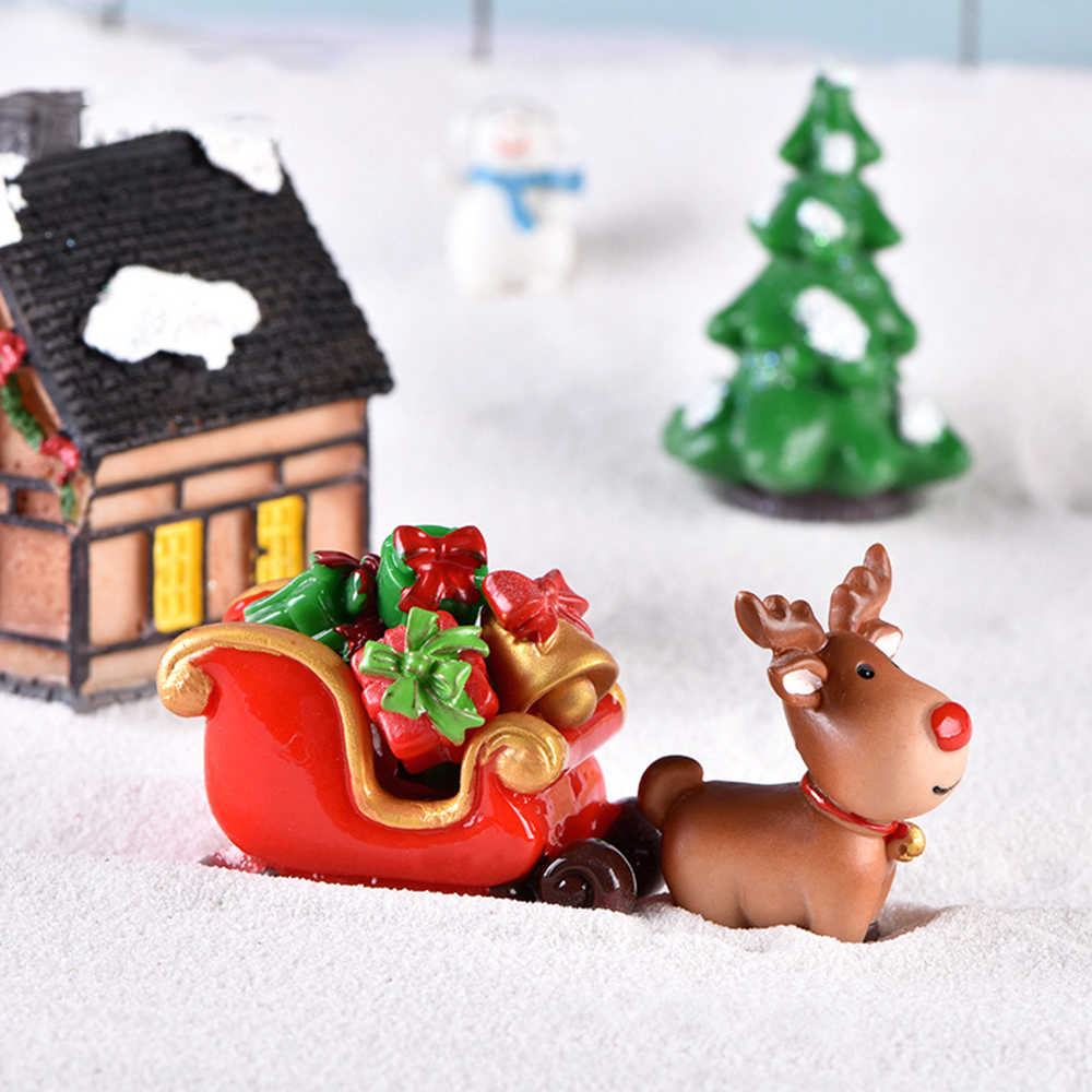 1PC Christmas Miniature Carriage Ornament Gift Bonsai Micro Landscape Fairy Garden Home Decor Deer Figurines Decor Accessories