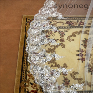Image 5 - Real Photo Romantic 3 M Wedding Veil Cathedral One Layer Lace Appliqued Long Bridal Veils With Comb Woman Marry Gifts