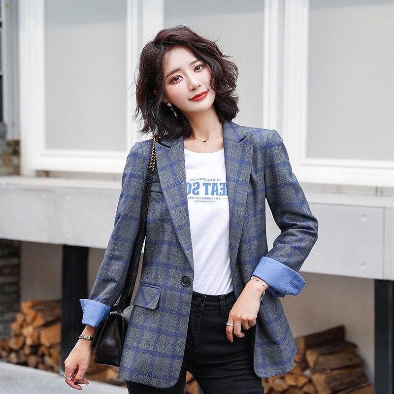 High Quality Casual Women's Long Sleeve Blazer 2019 Autumn Slim Blue Plaid Suit Business Jacket Large Size Female Office Suit