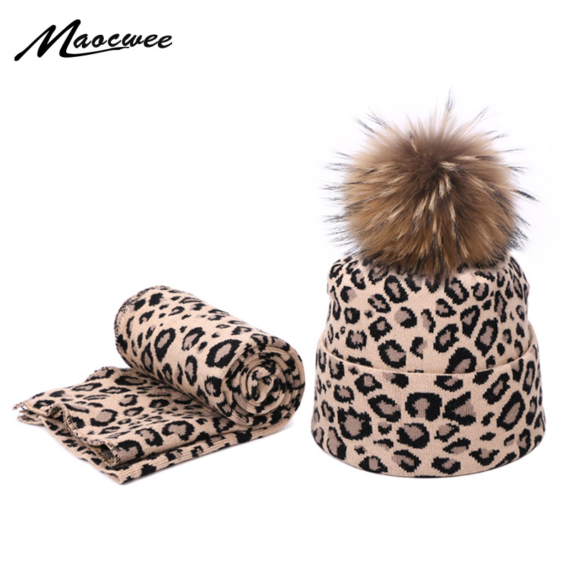 Fashion Leopard Print Unisex Hat And Scarf Set With Real Fur Pompon Autumn Winter Knitted Beanies Hats For Women Two Piece Sets