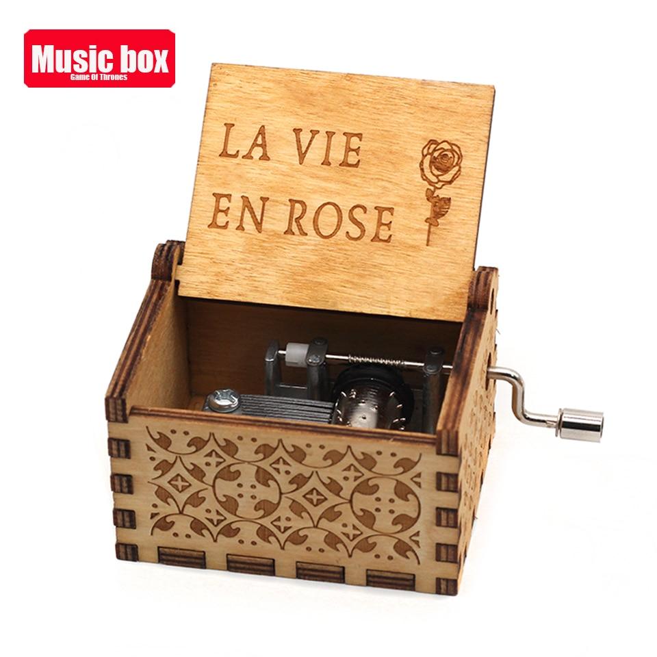 Лидер продаж деревянная ручка музыкальная шкатулка игра трон Пираты Кариб Звездные войны замок Inthe Sky Рождественский подарок - Цвет: La Vie En Rose