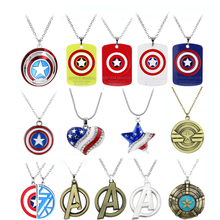 цена Movie Avengers Infinity War Captain America Shield Logo Necklaces The Avengers Logo Captain America Helmet Sign Chain Necklace онлайн в 2017 году