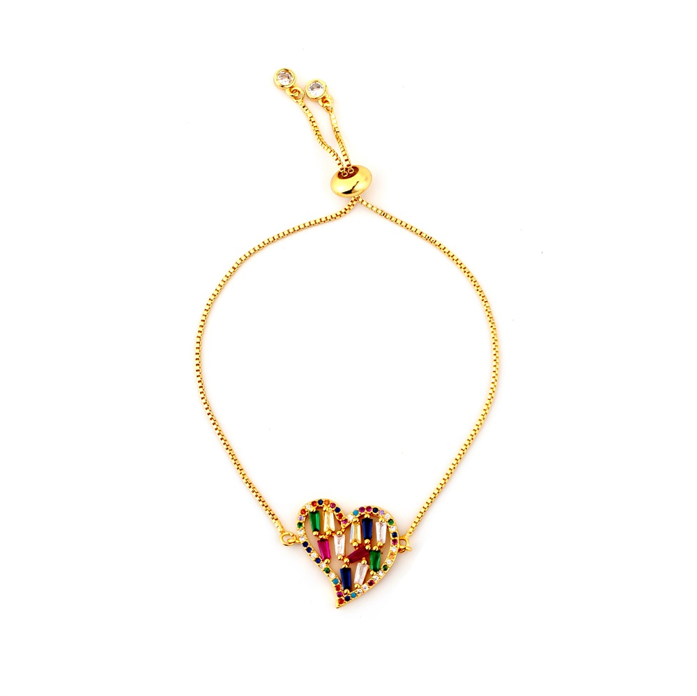 Горячее золото циркония браслет и браслет женский Радужное покрытие браслет Роскошный Регулируемый сердце злой глаз змея цепь браслет - Окраска металла: BRB58-B