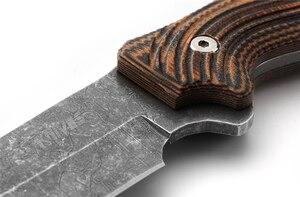 Image 5 - 8cr13mov aço faca de caça forjamento afiada tático em linha reta couro casos para selfdefense survial escalada equitação acampamento
