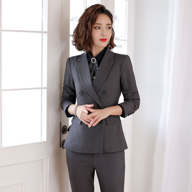 Women's Overalls Suit Autumn New Solid Color Double-breasted Ladies Blazer Slim Pants Suit High Quality Female Business Wear