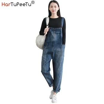 Denim Jumpsuit Women Jeans Summer 2020 Elegant Plus Size 2XL Baggy Fit Harem Bib Pants with Pockets Vintage Washed Overalls цена 2017