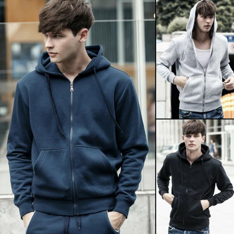 Men's Autumn Winter Warm Long-Sleeved Slim Hooded Sweatshirts Casual Hoodie Men's Hooded Zip Sweatshirt
