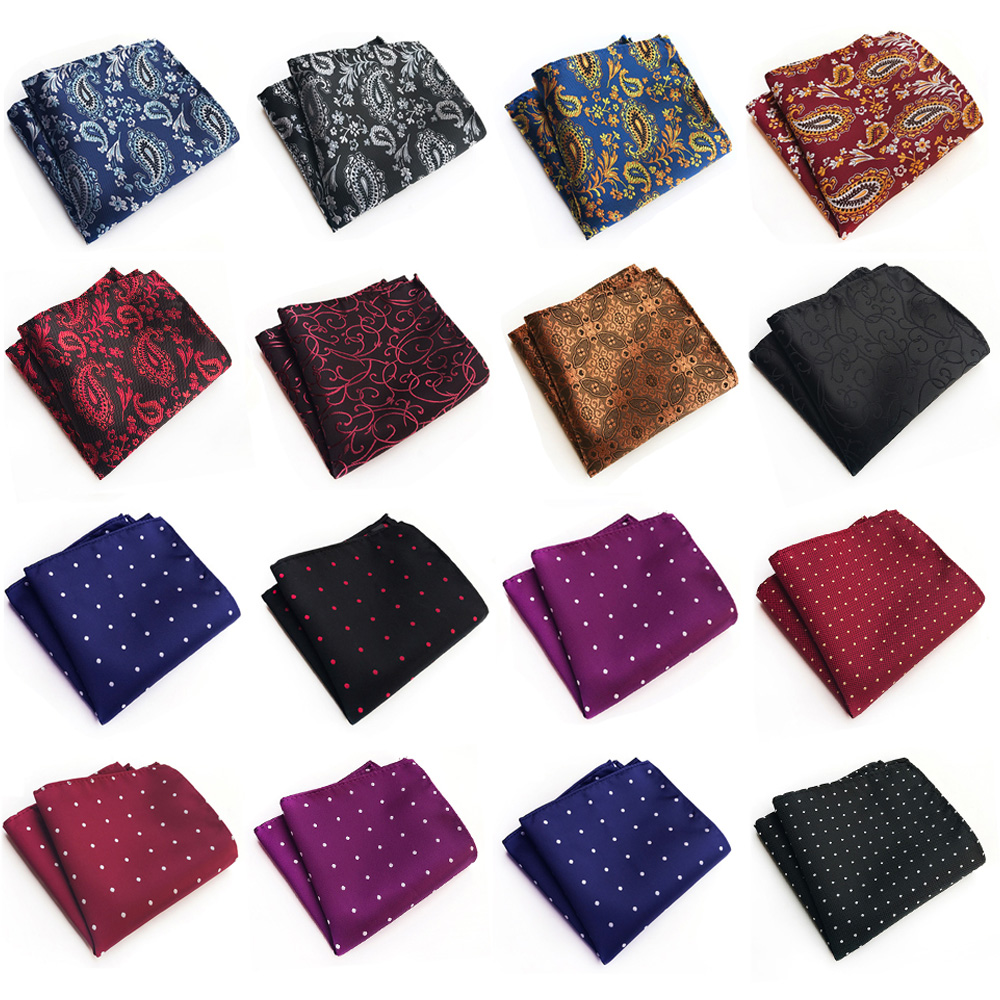 Mens Pocket Square Floral Paisley Polka Dots Jacquard Business Handkerchief