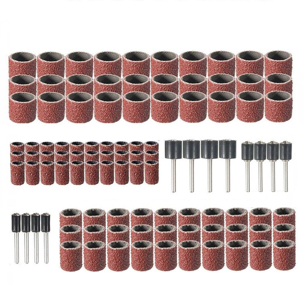102x 80Grit Drum Sanding Mandrel Kit For Rotary Tools W/ 1/2 3/8 1/4 Nail Edge