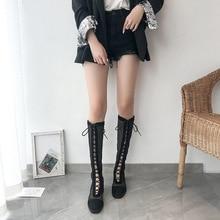 Women Air Mesh Mid-Calf Boots Spring/Summer/Autumn Black Transparent Ladies Shoes Fashion Female