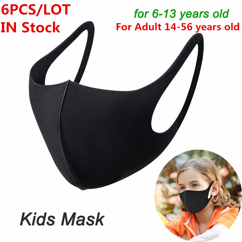 6Pcs/Lot For 6-56 Years Kids Children Mouth Mask Anti Pollution Mask PM2.5 Air Dust Face Masks Washable And Reusable Mouth Cover