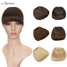 S-noilite 23G 15*15cm Non-Remy Straight Human Hair Neat Bangs Extension Brazilian Clipin Hair Blonde Brown Natural Front Fringes