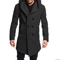 Models 2019 Winter Fashion British Style Men's Wool Coat Design Zipper Long Trench Coat Hooded Woolen Coat Men