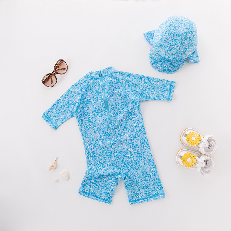 Boys' Cotton One-piece Swimsuit Sky Blue Long Sleeve Lobster With Hat-Children Hot Springs Bathing Suit