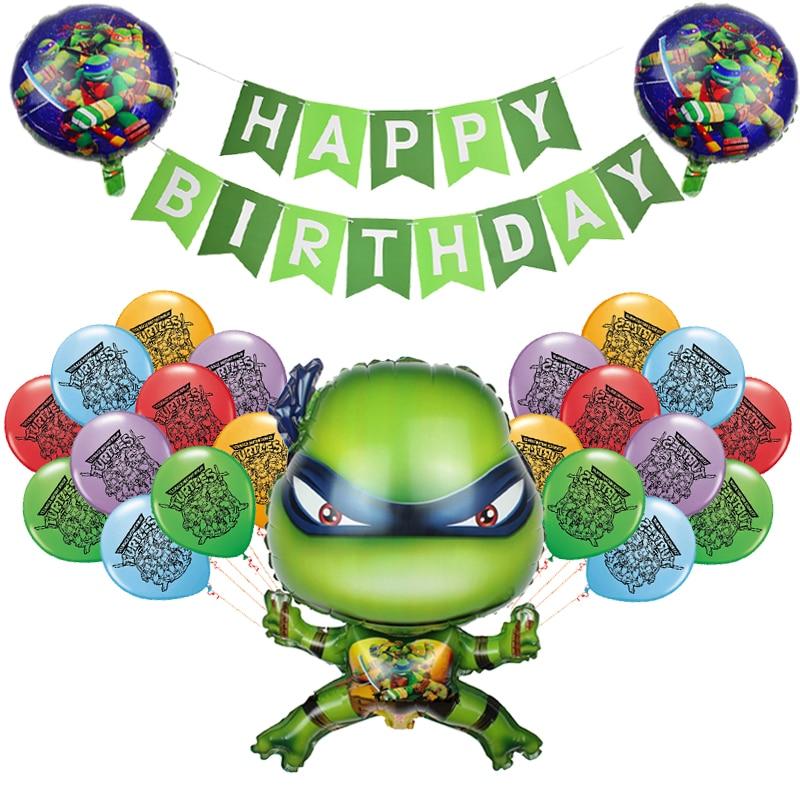 Зеленого цвета с принтом «Черепашки-ниндзя» латексные шары Hero воздушные шары в форме животных Happy ко дню рождения, баннер Baby Shower вечерние декор для маленьких мальчиков Дети пользу игрушки ребенка Globos-0