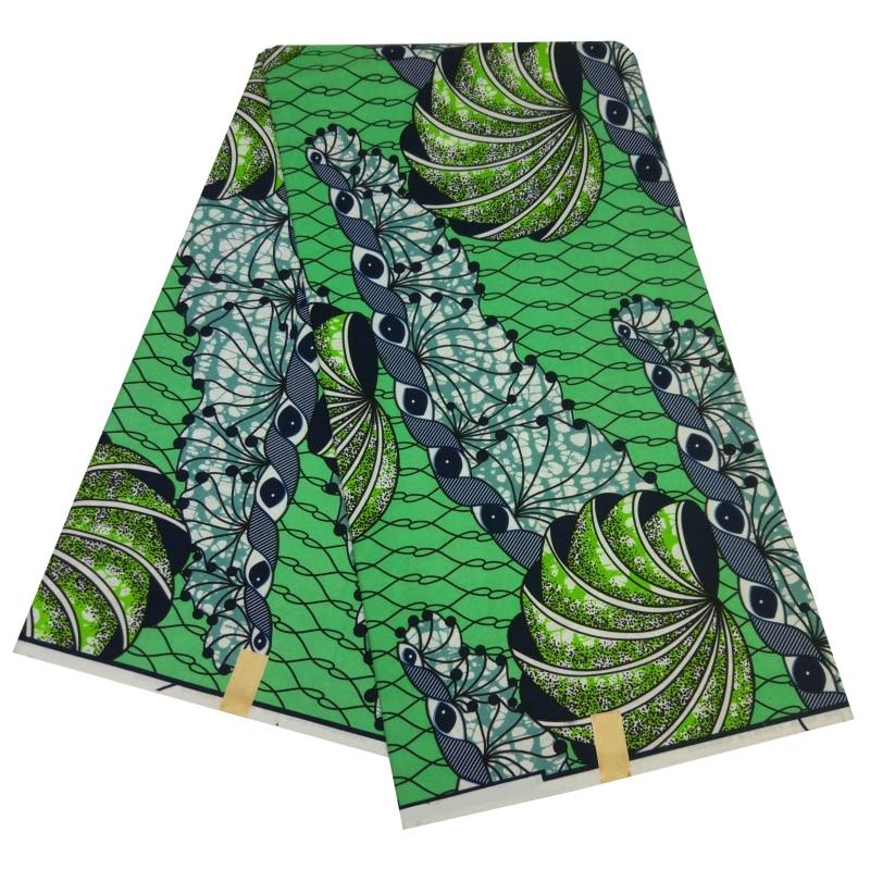 African Ankara Fabrics Wax 6 Yards Tissu African Polyester Tela Estampadas Verdes Wax Print Textiles For Women
