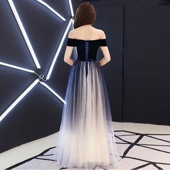 Navy blue elegant Prom party Dresses  Vestido de Festa dress evening long frock robe de mariee robe communion fille robe sequin 2