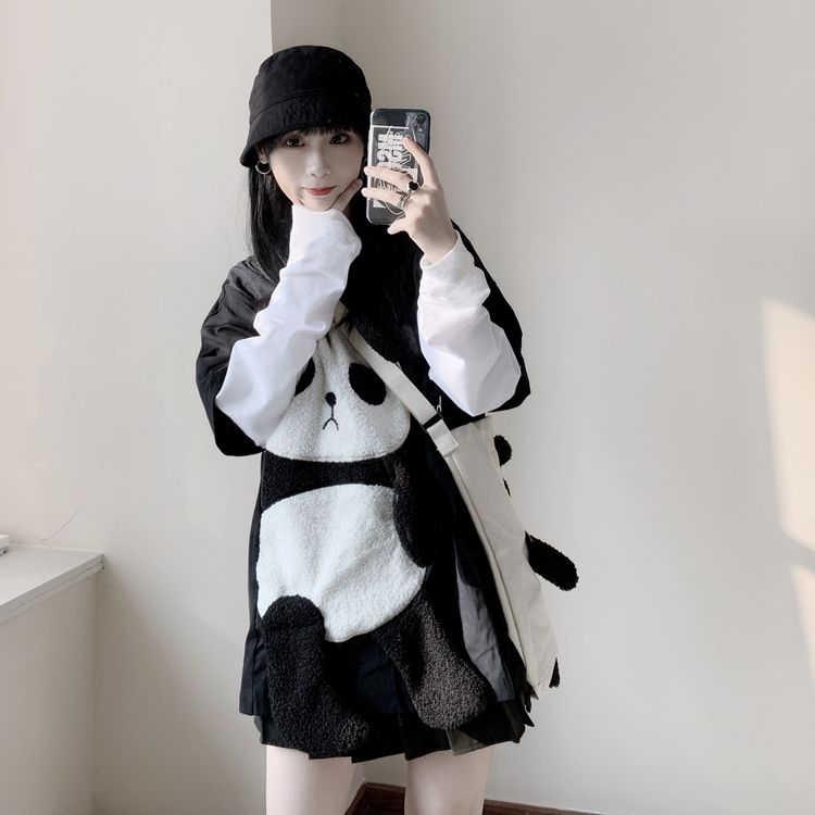 가을 입체 봉제 팬더 가짜 두 긴 소매 티셔츠 얇은 스웨터 여성 톱 + 일본어 귀여운 스 트래들 숄더 백