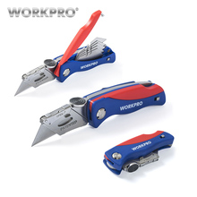 WORKPRO Folding Knife Electrician Utility for Pipe Cable Cutter Knives with 5PC Blades in Handle