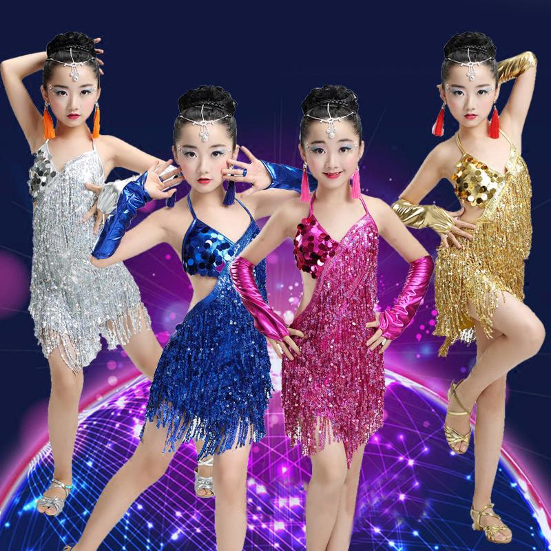 Children Professional Fringe Latin Dance Dress For Girls Ballroom Dancing Dresses For Red Kids Sequin Latin Fringe Tassel
