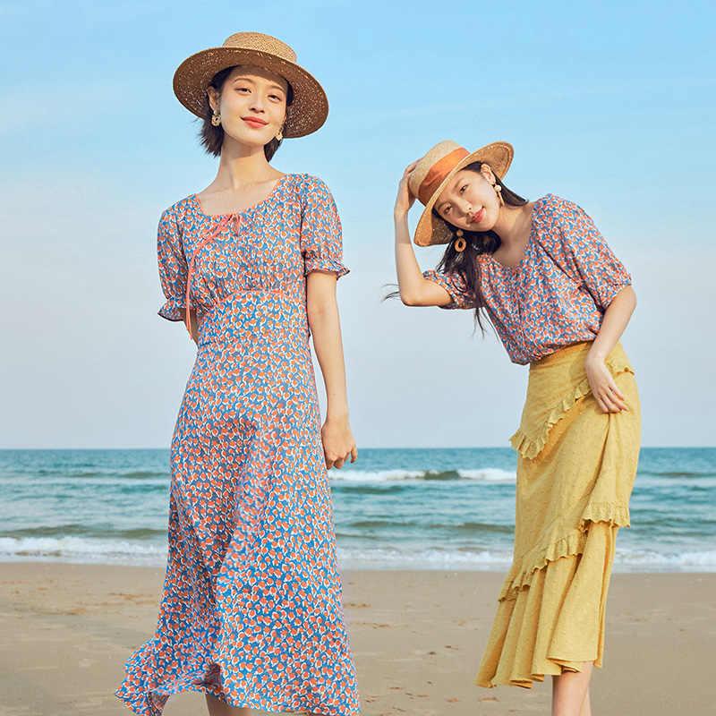 をインマン2020夏新到着スクエア襟ロマンチックなプリントフレンチスタイル震え半袖ドレス