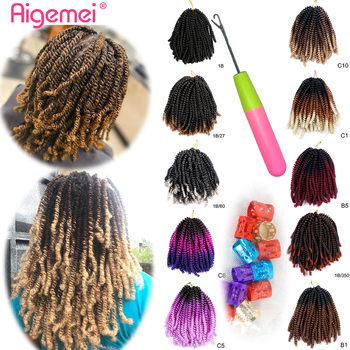 Aigemei 8'' Spring Crochet Hair Bomb Dreadlock Twist Low Temperature Fiber Synthetic Braiding Jamaica Bounce For Women - discount item  56% OFF Synthetic Hair