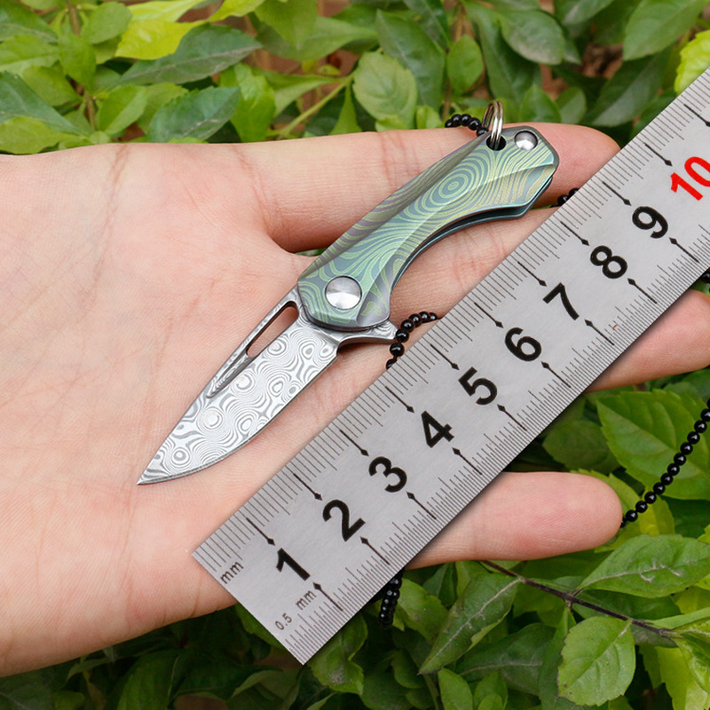 Swayboo Damascus Folding Knife Pocket Titanium Handle Keychain Mini Knife Outdoor Camping Necklace Knives Hand Tools